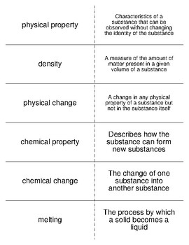 Properties of Matter Vocabulary Flash Cards for Physical Science