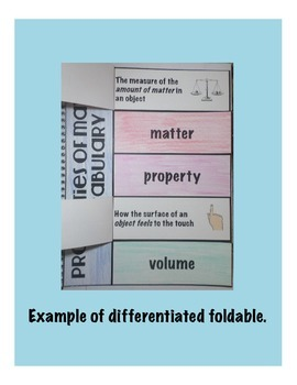 Properties of Matter Vocabulary Interactive Science Notebook Foldable