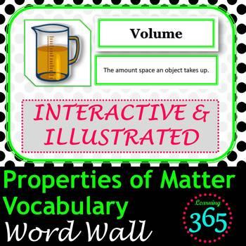 Properties of Matter Vocabulary Interactive Word Wall