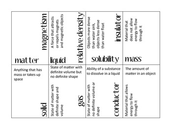 Properties of Matter Vocabulary Puzzle