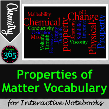 Properties of Matter Vocabulary for Interactive Notebooks