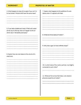 Properties of Matter Worksheet