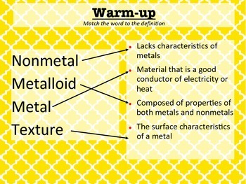 Properties of Metals Warm-Ups/Bell Work
