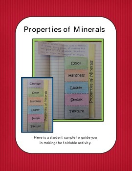 Minerals: Properties of Minerals foldable activity