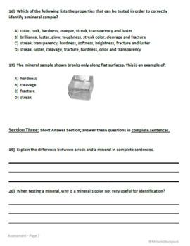 Properties of Minerals Assessment