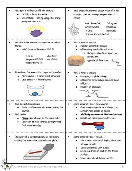 Properties of Minerals Foldable - How to Tell Minerals Apart
