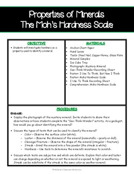 Properties of Minerals - Hardness (Mohs Hardness Scale) 5E Activity