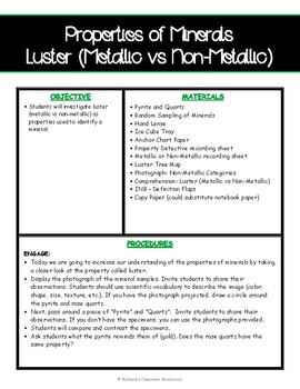 Properties of Minerals: Luster (5E Activity)