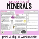 Properties of Minerals Worksheet