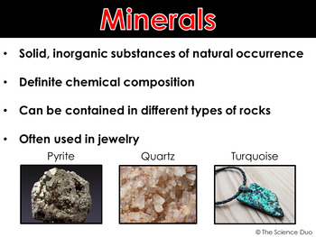 Properties of Minerals - PowerPoint and Notes