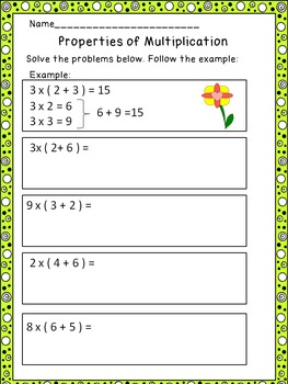 Properties of Multiplication-Worksheets  CCSS.MATH.CONTENT.3.OA.B.5