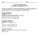 Properties of Multiplication - CC.3.OA.B.5