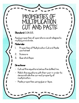 Properties of Multiplication Cut and Paste