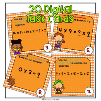 Properties of Multiplication Digital Task Cards