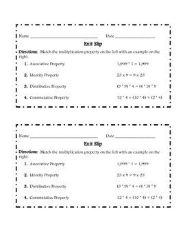 Properties of Multiplication Exit Slip