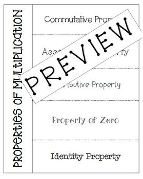 Properties of Multiplication Foldable Flap Book