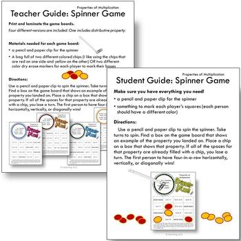 Properties of Multiplication Printable Math Spinner Games