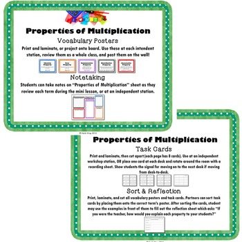 Properties of Multiplication Independent Math Stations