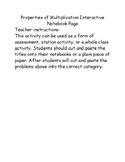 Properties of Multiplication Interactive Notebook Sort