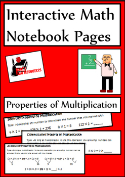 Properties of Multiplication Lesson for Interactive Math Notebooks