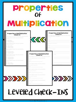 FREEBIE! Properties of Multiplication Leveled Check In