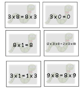 Properties of Multiplication Matching Game