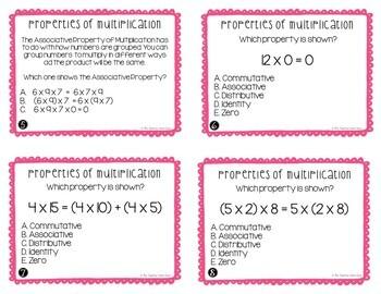 Properties of Multiplication Task Cards for 3rd Grade
