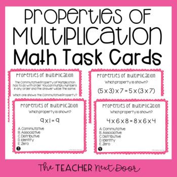Properties of Multiplication Task Cards | Properties of Multiplication Center