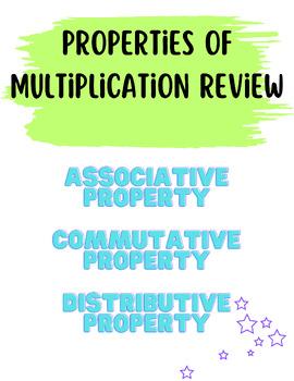 Properties of Multiplication Review Sheet