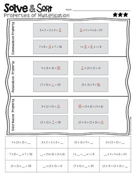 Properties of Multiplication Solve & Sort