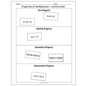 Properties of Multiplication Sort Activity