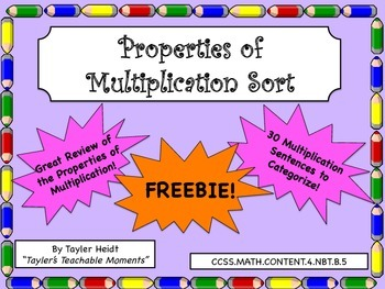 Properties of Multiplication Sorting Activity