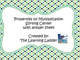 Properties of Multiplication Sorting Center with Student Answer Sheet
