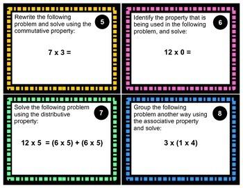 Properties of Multiplication Task Cards - Solve!