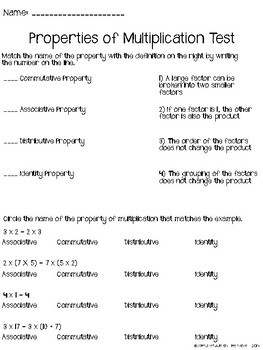 Properties of Multiplication Test