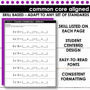 Properties of Multiplication - Third Grade Print and Go