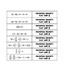 Properties of Multiplication and Addition Matching Game