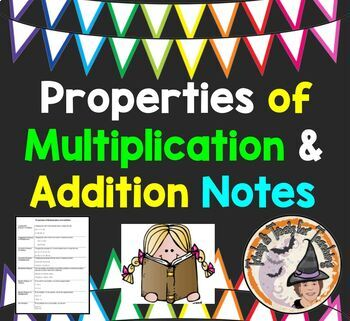Properties of Multiplication Addition Notes Communative Associative Distributive