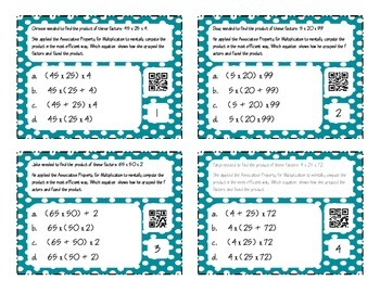 Properties of Multiplication and Equality Task Cards with QR Codes