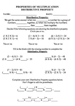 Properties of Multiplication worksheets, review, study guide, and test