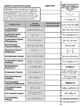 Properties of Numbers ALGEBRA 1 Cut-and-Paste Matching Quiz
