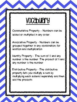 Properties of Numbers - Definition Matching Game