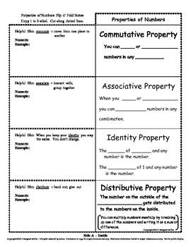 Properties of Numbers Flip n' Fold Notes