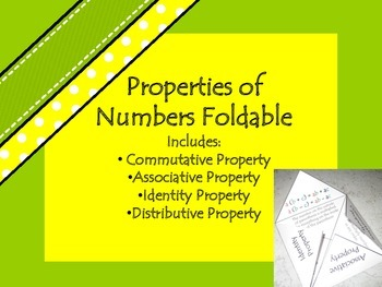 Properties of Numbers Foldable: Commutative, Associative, Identity, Distributive