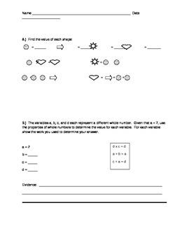 Number Properties:  Reflexive, Symmetric, Transitive, Identity