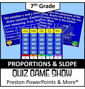 (7th) Quiz Show Game Proportions and Slope in a PowerPoint