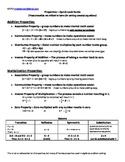 Properties of Numbers:Quick-Look Guide