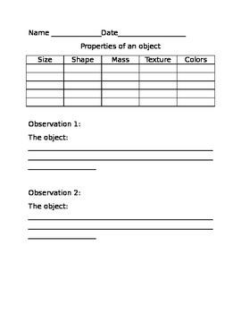 Properties of Objects Worksheet