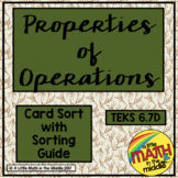 Properties of Operations Card Sort TEKS 6.7D