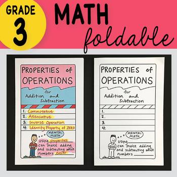 Doodle Notes - Properties of Operations Foldable 3rd Grade Math Doodles